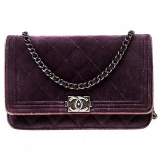 Chanel Wallet on Chain Purple Velvet Handbags