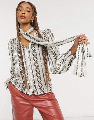 Morgan tie neck blouse in cream chain print