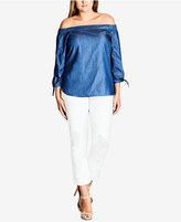 City Chic Trendy Plus Size Off-The-Shoulder Chambray Top