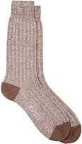 Barneys New York Men's Mélange Rib-Knit Mid-Calf Socks-BROWN