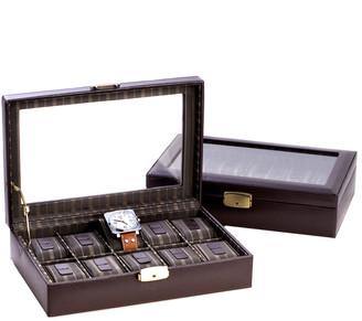 Bey-Berk Leather 10-Watch Case