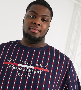 Duke full stripe t-shirt with chest print in navy