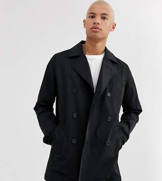 Asos Design DESIGN Tall double breasted pea coat trench-Black