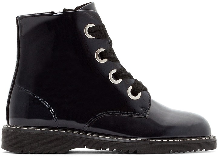 e9ee3ad6179 COLLECTIONS Kids Patent Ankle Boots with Zip and Laces
