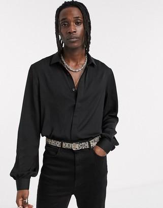 ASOS DESIGN regular fit satin shirt with balloon sleeve detail in black
