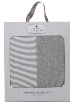 Living Textiles 2 Pack Fitted Sheet - Grey Marl + Grey Heathered Stripes Bedding