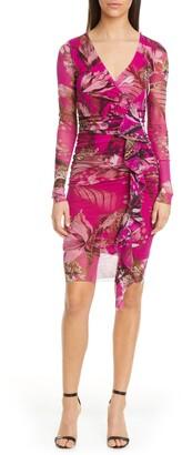 Fuzzi Leopard & Floral Print Ruffle Long Sleeve Dress