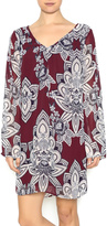 Pink Owl Floral Burgundy Dress