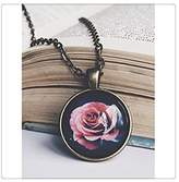 Happiness Home Fashion Elegant Beautiful Roses Pendant Present Women Necklace Rose Glass Pen...