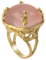 Jolie B Ray Cushion Cabachon Pink Topaz Cocktail Ring With Diamonds