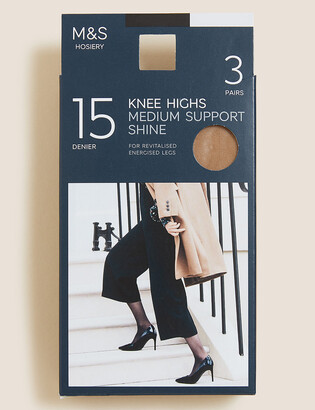 Marks and Spencer 3pk Medium Support Knee High Tights
