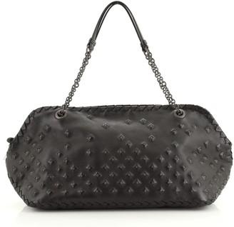 Bottega Veneta Chain Shoulder Bag Studded Leather with Intrecciato Detail Large