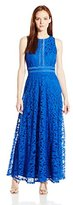 London Times Women's Petite Swirl Lace Maxi with Mesh Trim