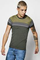 Boohoo Muscle Fit Faded Stripe Knitted T-shirt
