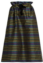Isa Arfen Drawstring-waist striped taffeta skirt