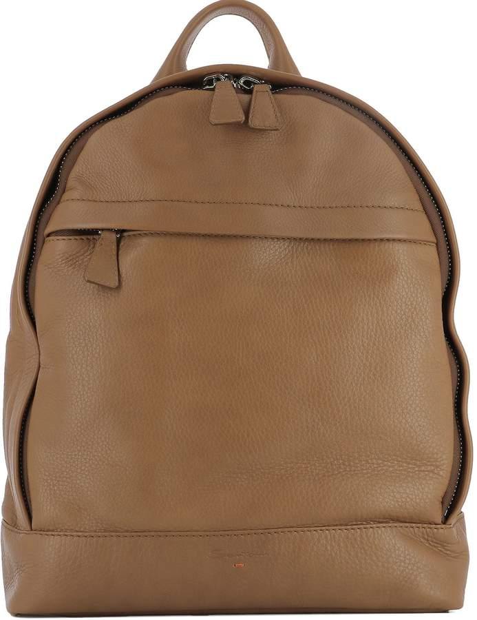 Santoni Brown Leather Backpack