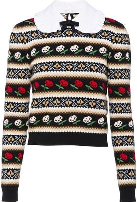 Miu Miu Floral Stripe Cashmere Jumper