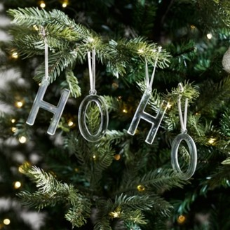 The White Company Ho Ho Tree Decorations - Set of 2, Clear, One Size