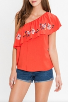 Flying Tomato One Shoulder Embroidered Top