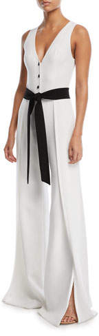 Alexis Moe V-Neck Button-Front Sleeveless Wide-Leg Crepe Jumpsuit