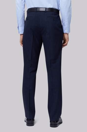 Moss Esq. Regular Fit Indigo Check Pants