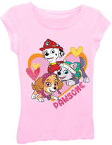 Asstd National Brand Paw Patrol Girls' Pawsome Heart Short Sleeve Graphic T-Shirt with Pink Glitter