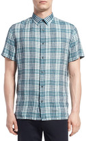 Vince Slim Fit Plaid Short Sleeve Linen Sport Shirt