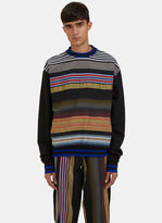 James Long Men's Multicolour Striped Crew Neck Sweater In Black