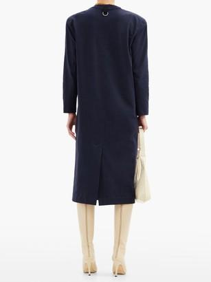 Tibi Shoulder-padded Long-sleeved Cotton-jersey Dress - Navy