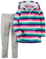 Carter's Infant Girl 2 Piece Set Striped Pink Hoodie Jacket Leggings Outfit 3m