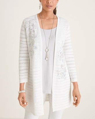 Chico's Embroidered Jacquard Open-Front Cardigan Sweater