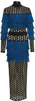 Balmain Fishnet Pleated Long Dress