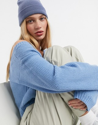 AX Paris v-neck cropped sweater in blue