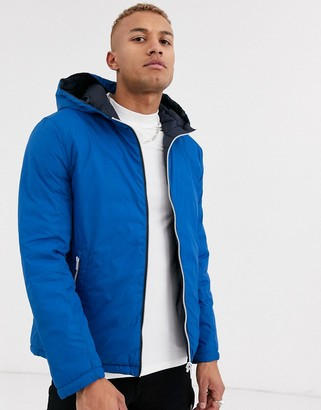 Celio reversable puffer jacket in blue