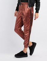 Charlotte Russe Striped Satin Jogger Pants
