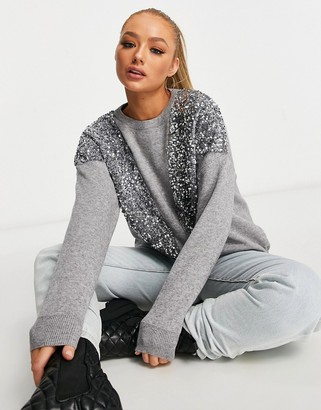 Wild Flower embellished sweater in gray