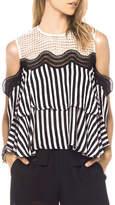 Gracia Striped Cold Shoulder Top