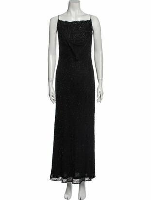 Carmen Marc Valvo Square Neckline Long Dress Black