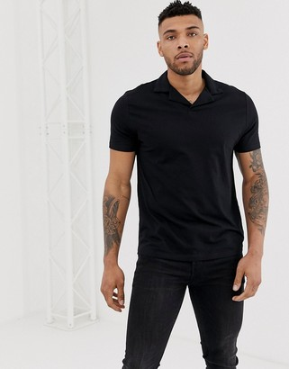 Asos Design DESIGN organic polo with revere collar in black