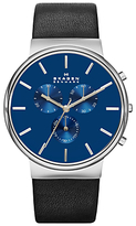 Skagen Skw6105 Ancher Chronograph Leather Strap Watch, Black/blue