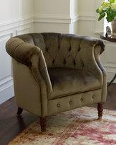 Horchow Olive Velvet Tub Chair