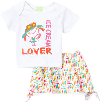 Snopea SnoPea Girls' Casual Skirts Cream - Cream & Red Circles Tie-Accent A-Line Skirt & White 'Ice Cream Lover' Tee - Infant