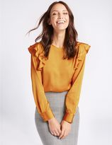 Marks and Spencer Frill Shoulder Round Neck Shell Top