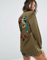 Glamorous Military Shirt Jacket With Embroidered Back Detail