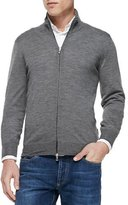 Brunello Cucinelli Fine-Gauge Full-Zip Sweater, Gray