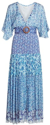 HEMANT AND NANDITA Paisley Kimono-Sleeve Belted Drop-Waist Pleated Dress