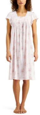 Miss Elaine Plus Size Silky Smocked Knit Nightgown