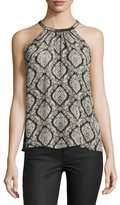 Joie Francis Halter-Neck Printed Silk Blouse, Dusty Pink Sand