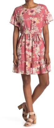 WEST KEI Floral Tie Waist Founce Hem Dress
