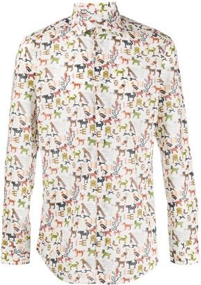 Etro Mexican print slim fit shirt